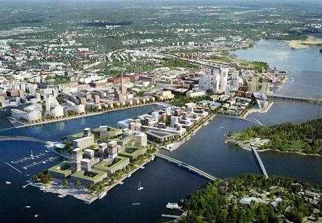 Kalasataman eteläkärkeen suunniteltu uusi Nihdin alue havainnekuvassa. Kun alueen asemakaava hyväksyttiin Helsingin kaupunginvaltuustossa, lisättiin päätökseen vielä ponsi Tervasaaren ja Kalasataman yhdistävästä kevyen liikenteen sillasta.