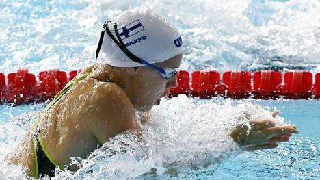 Ida Hulkko naisten 50 metrin rintauinnin finaalissa uinnin EM-kilpailuissa Glasgowssa, Skotlannissa, 9. elokuuta 2018.