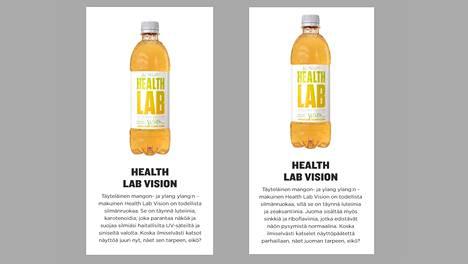 Vielä joulukuussa Olvi markkinoi Health Lab -brändinsä vitamiinivettä tekstillä, joka on EU:n terveysväiteasetuksen vastainen. Tekstiä on sittemmin muutettu.