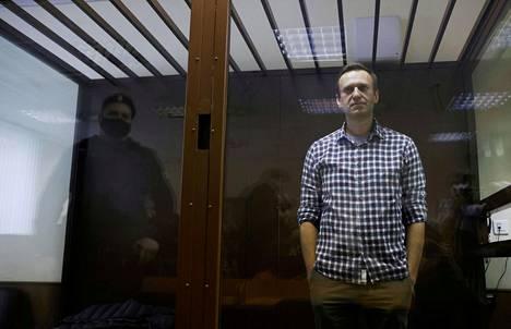 Venäläinen oppositiojohtaja Aleksei Navalnyi oikeudessa Moskovassa Venäjällä 20. helmikuuta.