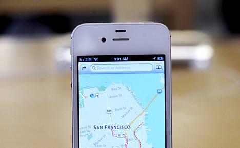 Applen uusi iPhone ja karttasovellus olivat esillä Applen myymälässä San Franciscossa syyskuussa.