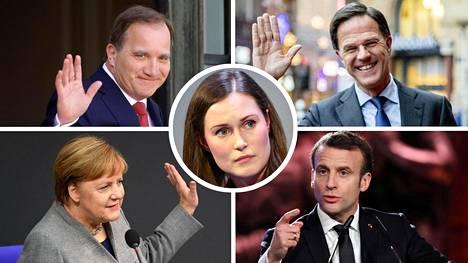 Ruotsin pääministeri Stefan Löfven (vas. ylh.), Hollannin pääministeri Mark Rutte, Saksan liittokansleri Angela Merkel, Ranskan presidentti Emmanuel Macron ja Suomen pääministeri Sanna Marin (keskellä).