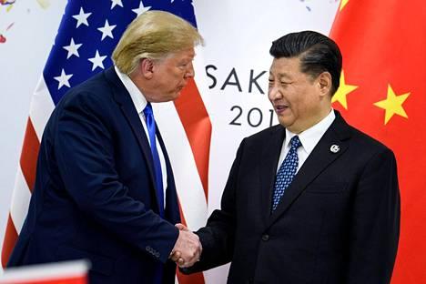 Yhdysvaltain presidentti Donald Trump ja Kiinan presidentti Xi Jinping tapasivat G20-kokouksessa Osakassa kesäkuussa 2019.
