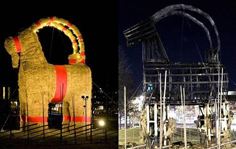 Gävlen olkipukki vuonna 2013, ennen ja jälkeen tuhopolton.