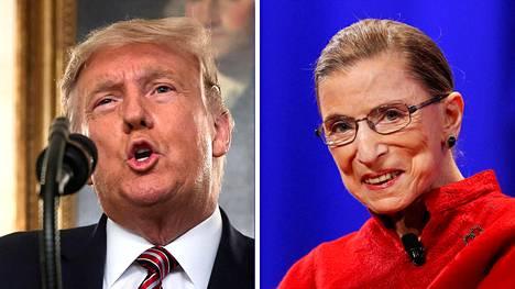 Yhdysvaltain presidentti Donald Trump ja edesmennyt korkeimman oikeuden tuomari Ruth Bader Ginsburg.