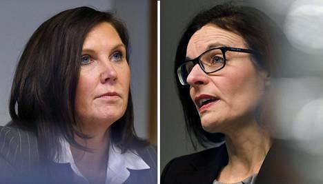 Stora Enson paperitoimintojen johtaja Kati ter Horst ja UPM:n sanomalehti- ja vähittäiskauppapaperitoimintojen johtaja Anu Ahola.