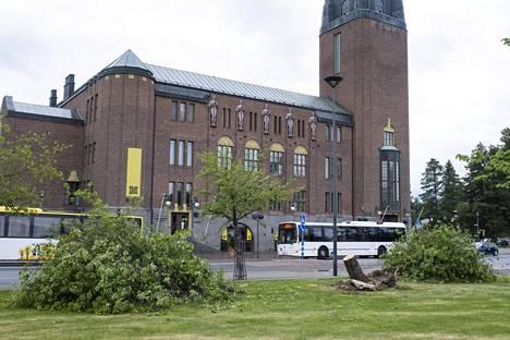Joensuun keskustan Vapaudenpuistossa kaatui puu, joka oli aamusta heti raivattu pois.