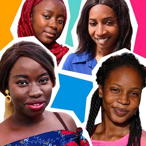 Senegalilaiset Djeinaba Diakhat (vas.), Marie Aïdar, Hawa Kane Sy ja Mado Gueye tavataan radiosarjassa.