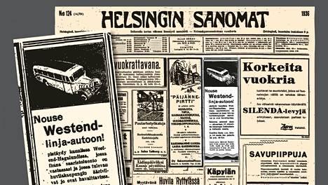 Linja-autoa Westendiin mainostettiin Helsingin Sanomien kannessa 9.5.1936.