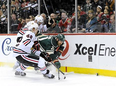 Minnesota kohtasi Chicagon NHL:n playoff-ottelussa St.Paulissa Minnesotassa.