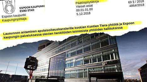 Espoon kaupunginjohtaja on selvittänyt apulaisoikeuskanslerille Espoon it-ostoja Kuntien Tieralta. Myös rahoitusjohtaja Ari Konttaksen kaksoisrooli yhtiössä kiinnostaa ylintä laillisuusvalvojaa.