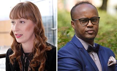 Eveliina Heinäluoma ja Abdirahim Hussein.