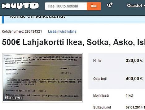 Kuvakaappaus maksusitoumuksen myynti-ilmoituksesta Huuto.net-sivustolla.
