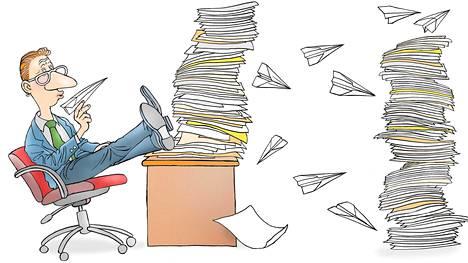Huomio saattaa siirtyä epäolennaisuuksiin, jos tekemättömistä töistä ei saa otetta.