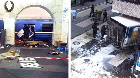 Räjähdyksessä vaurioitunut metrovaunu Teknologisen instituutin metroasemalla Pietarissa ja Åhlensin tavaratalon sisään ajanut kuorma-auto Tukholmassa.