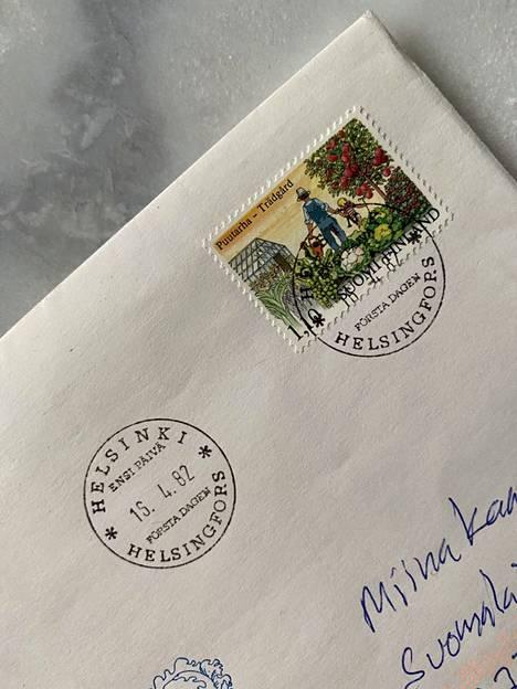 Kirjekuori on ensipäiväkuori ja postimerkki, joka on leimattu Helsingissä 15.4.1982.