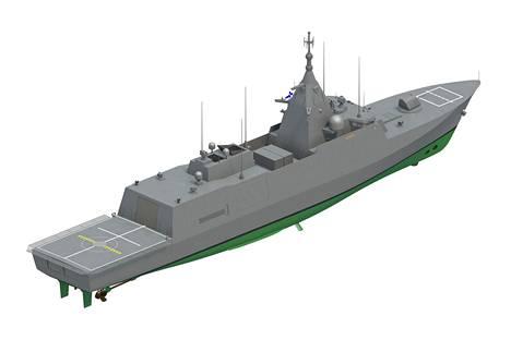 Havainnekuva tulevasta Pohjanmaa-luokan sotalaivasta.