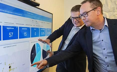 Tommi Salmi (vas.) ja Ilkka Forsell  visualisoivat liikenneonnettomuusdataa  Espoon ja Kauniaisten alueilla.