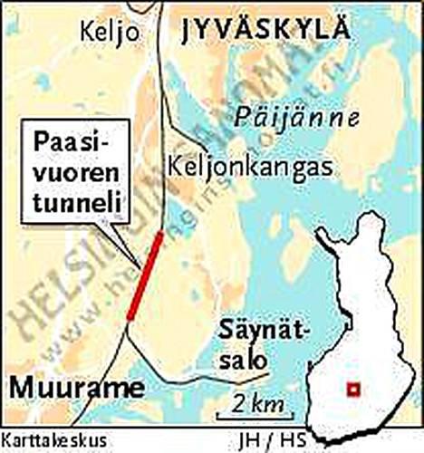 Juna jämähti tunneliin Jyväskylän ja Jämsän välillä