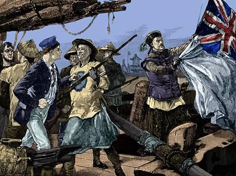 Alueluovutuksia Britannialle jatkettiin vuonna 1860 toisen oopiumisodan (1856–1860) jälkeen. Kuvassa kiinalaiset laskevat Britannian lippua.