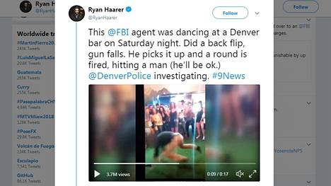 Kuvakaappaus Ryan Haarerin Twitter-tililtä, jolla video FBI-agentista jaettiin.