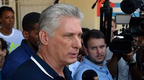 Kuuban johtoon noussut Miguel Diaz-Canel helmikuussa 2019.
