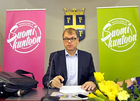 Pääministeri Juha Sipilä keskustan työvaliokuntien ja ministereiden kesäkokouksessa Raumalla.