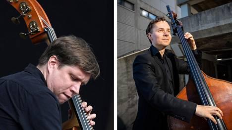 Eturivin jazzbasistit Antti Lötjönen (vas.) ja Ville Herrala ovat kumpikin julkaisseet ensimmäisen oman albuminsa.