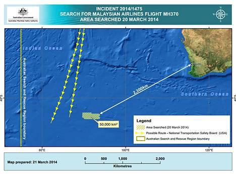 Australian viranomaiset julkistivat kartan malesialaiskoneen etsintäalueesta, joka sijaitsee merellä Australian luonaispuolella.
