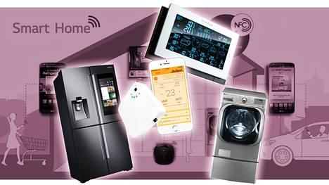 Kodinkoneista vaikkapa pyykkikonetta, jääkaappia, ilmalämpöpumppua tai lämpömittaria voidaan hallita netin tai mobiililaitteen kautta.