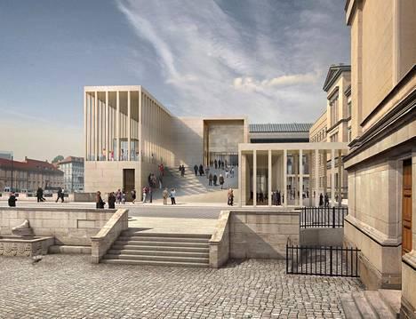 Parhaillaan rakenteilla olevasta James Simon -galleriasta tulee Berliinissä uusi sisäänkäynti museosaarelle. Kokonaisuuden on suunnitellut David Chipperfield.