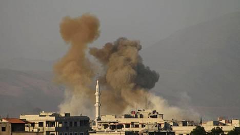 Syyrian armeija pommitti Itä-Ghoutassa sijaitsevaa Saqban aluetta sunnuntaina.