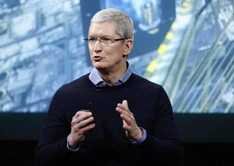 Applen toimitusjohtaja Tim Cook puhui yhtiön tilaisuudessa Kaliforniassa maaliskuussa 2016.