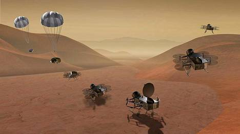 Minikopterit laskeutuisivat Titanille yhdessä varjon varassa (vasemmalla), mutta sitten ne hajaantuisivat etsimään elämän merkkejä ja molekyylejä.