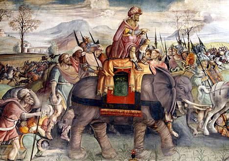 Hannibal ylittämässä Alppeja. Yksityiskohta Rooman Palazzo del Campidogliossa sijaitsevasta freskosta.
