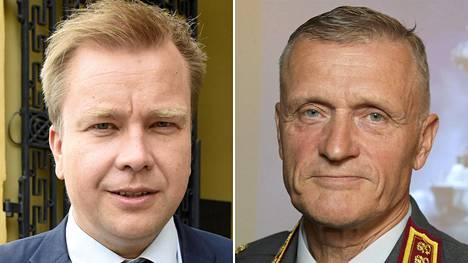 Puolustusministeri Antti Kaikkonen ja Puolustusvoimien komentaja Timo Kivinen.