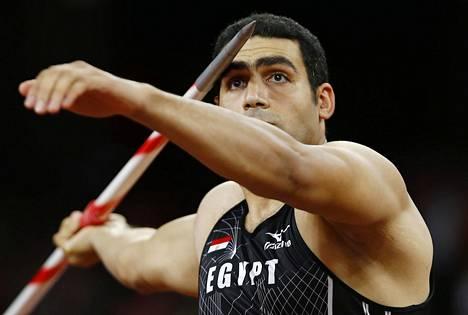 Ihab Abdelrahman heitti viime vuonna MM-hopeaa.