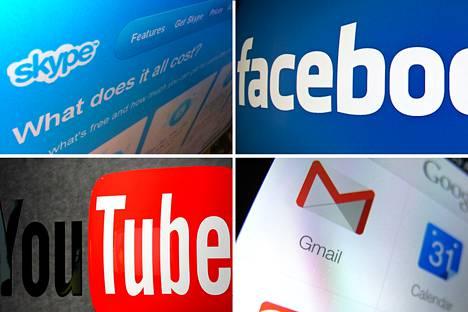 Myötäpäivään: Skype (ylh. vas.), Facebook, Youtube ja Googlen Gmail-sähköpostipalvelu.