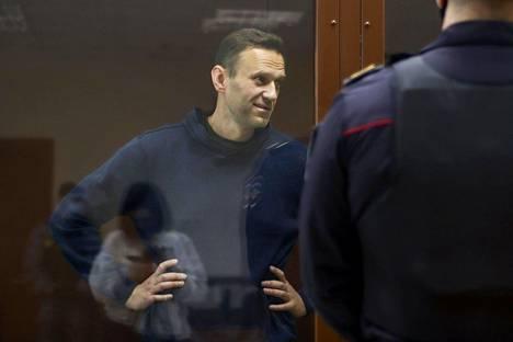 Aleksei Navalnyi oikeuskäsittelyssä Moskovassa helmikuun alussa.