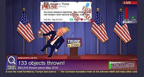 Donald Trumpiin osuu Trump vs. Science -pelissä.