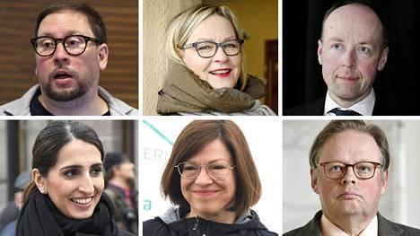 Paavo Arhinmäki (vas), Eva Biaudet (r), Jussi Halla-aho (ps), Nasima Razmyar (sd), Anni Sinnemäki (vihr) ja Juhana Vartiainen (kok).