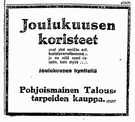 Sata vuotta sitten lehdessä mainostettiin joulukoristeita.