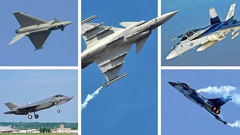 Tarjouspyynnön kohteena ovat Boeing F/A-18 Super Hornet, Dassault Rafale, Eurofighter Typhoon, Lockheed Martin F-35 ja Saab Gripen.