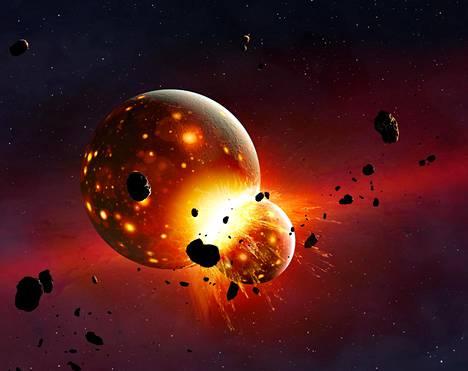 Uuden tutkimuksen mukaan Theia saapui ulompaa aurinkokunnasta ja sisälsi runsaasti vettä. Taiteilijan näkemys Theia-planeetan törmäyksestä Maahan.