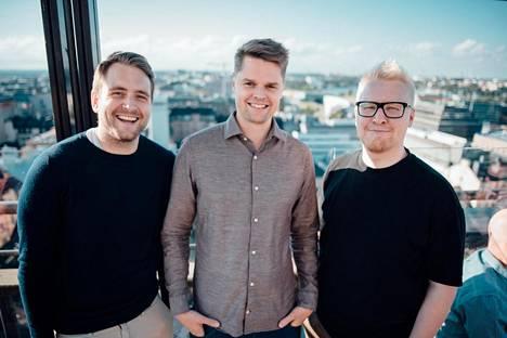 Alvar Carton perustajat Nico Erksson (vas.), Kimmo Brunfeldt ja Aarne Huttunen.