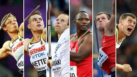 Thomas Röhler (vas.), Johannes Vetter, Tero Pitkämäki, Julius Yego, Petr Frydrych ja Andreas Hofmann tavoittelevat menestystä lauantain keihäsfinaalissa.