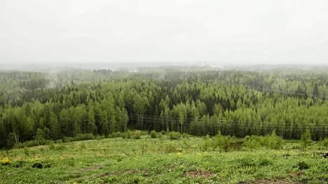 Kulomäen täyttömäeltä avautuvat vehreät näkymät. Kuva vuodelta 2013.