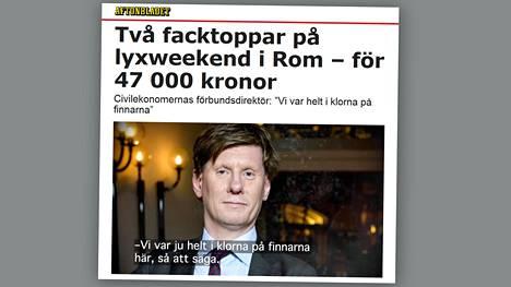 """Aftonbladet uutisoi kahden johtajan kokousmatkasta, """"luksusviikonlopusta"""", Roomaan."""