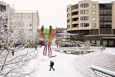 Kannelmäen Sitratori talviasussa tammikuussa 2019.