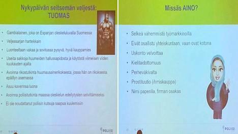 Helsingin Poliisin Helsinkiin kadonneet -seminaarissa keskiviikkona esittämiä luonnehdintoja maahanmuuttajista. Kuvat Facebookista.